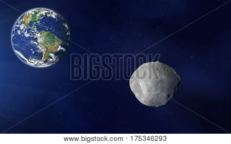 Planet, asteroids and stars in the Milky Way. 3D render / illustration,