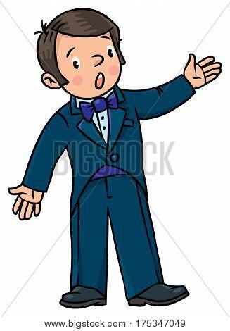 Funny singer or vocalist. Profession series. Children vector illustration.
