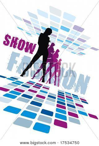 Sagome di eleganza del gruppo sexy, composizione di dancing girls, Fashion show Collection - donne figur
