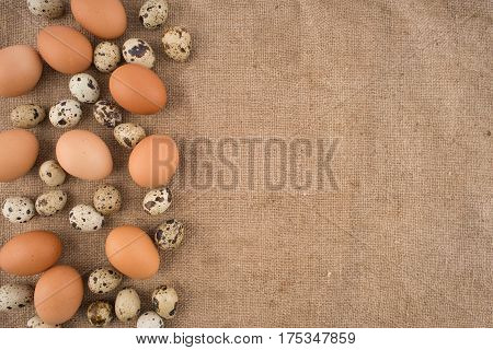 Quail and chicken eggs on burlap. Top view.