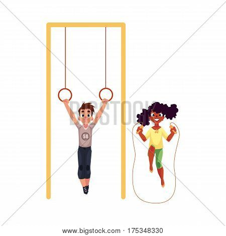 Black African girl and Caucasian boy playing with gymnastic rings and jumping rope at playground, cartoon vector illustration isolated on white background. Friends having fun at the playground