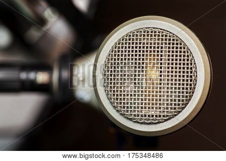 Microphone area in details where vocalist sings
