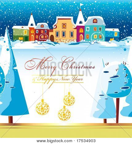New-Year's winter background with Christmas tree. Greeting sweet postcard with houses and snow. Christmas background of winter dream. Vector illustration contains the image of winter landscape.