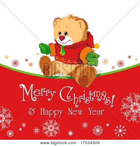 Red baby winter background with Funny young Teddy bear. Merry Christmas and a Happy New-Year's greeting sweet postcard. Vector illustration.