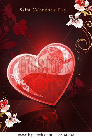 Abstract floral congratulation postcard with red glossy heart. Vector background with Place for your text. Beautiful illustration with heart and flowers for design of packing - Saint Valentine's Day.
