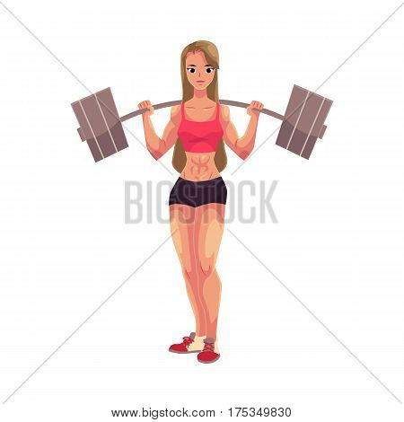 Young woman, female bodybuilder, weightlifter working out with barbell, cartoon vector illustration isolated on white background. Woman bodybuilder standing with barbell on her shoulders