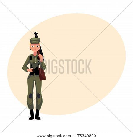 Slim, beautiful woman hunter in khaki, camouflage military style hunting clothes with a rifle, cartoon vector illustration with place for text. Full length portrait of modern woman hunter