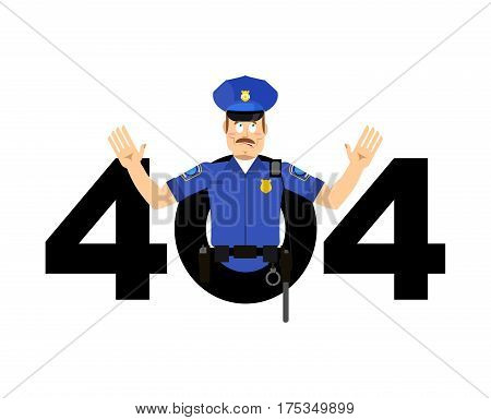 Error 404. Policeman Surprise. Page Not Found Template For Web Site. Cop Does Not Know And Is Surpri
