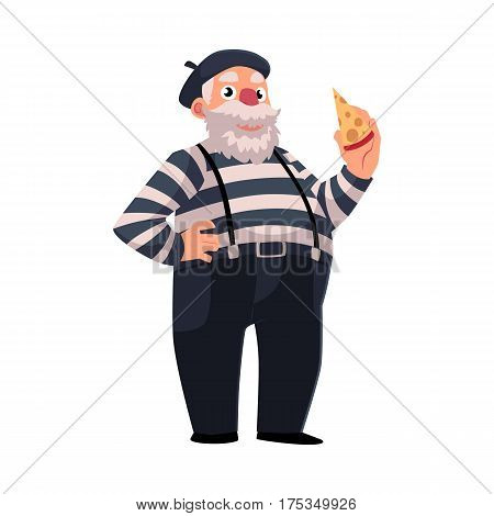 Grey haired, fat French mime in traditional clothing holding cheese as symbols of France, cartoon vector illustration isolated on white background. French man dressed as mime, comedian performer