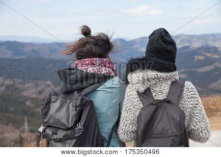 Two Females see view from peak of Omuro volcano mount on Ito city ShizuokaJapan.