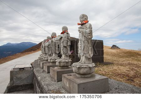Statues on peak Omuro Mount Ito ShizuokaJapan.