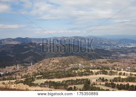 Top view from peak of Omuro mount in winter Mount Omuro is an extinct volcano in the Izu Peninsula near Ito City Japan.