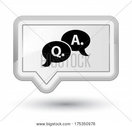 Question Answer Bubble Icon Prime White Banner Button