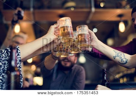 Hands Hold Beverage Beers Bottle Cheers