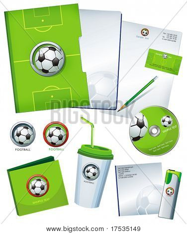 Green Office elements and accessories with symbol of soccer ball. Vector business set of secretarial things and supplies. Workplace with paper and folder.