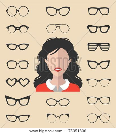 Big vector set of dress up constructor with different women glasses in trendy flat style. Female in glasses faces icon creator.