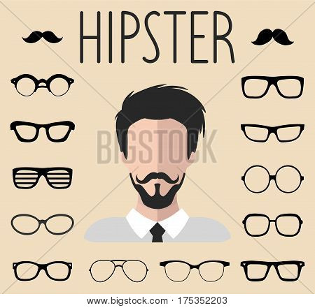 Big vector set of dress up constructor with different men hipster glasses mustache in trendy flat style. Male faces icon creator.