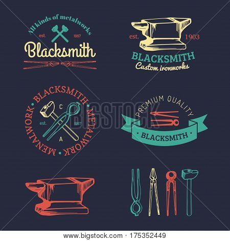 Vector set of hand sketched blacksmith logotypes. Vintage farrier labels collection