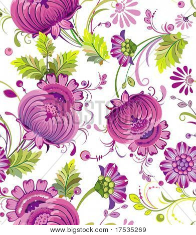 Beautiful flower seamless pattern on white background, vector illustration texture