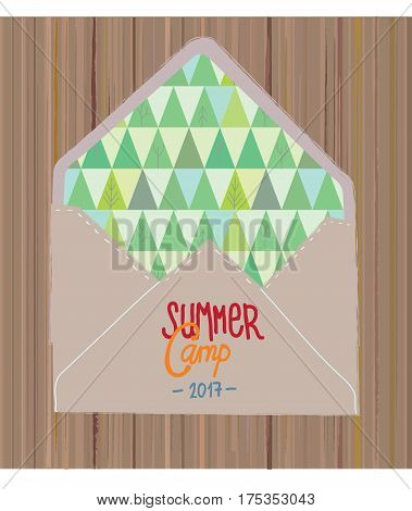 Summer camp flyer or invitation with woods and envelope - vector graphic illustration