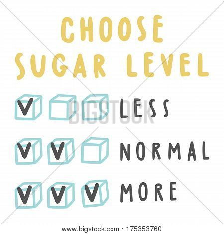 Choose sugar level for drinks. Vector hand drawn illustration