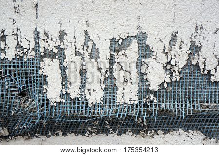 Damaged wall layers decay closeup. poster