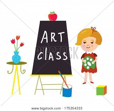 Artclass card with child and board for kindergarten - cute vector graphic illustration