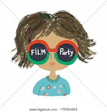 Poster or banner for the party with funny girl - vector graphic illustration