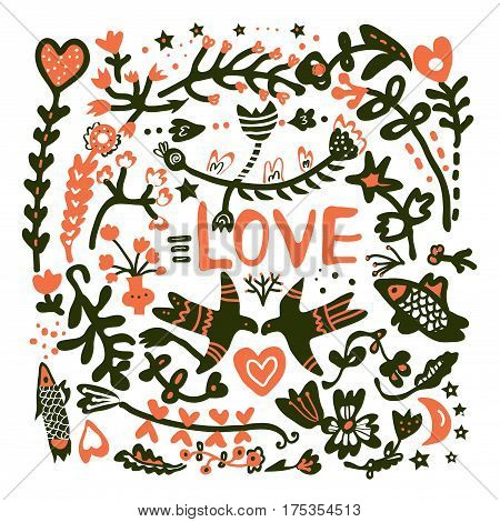 Greeting card with love for wedding or Valentine day vector graphic illustration in doodle style