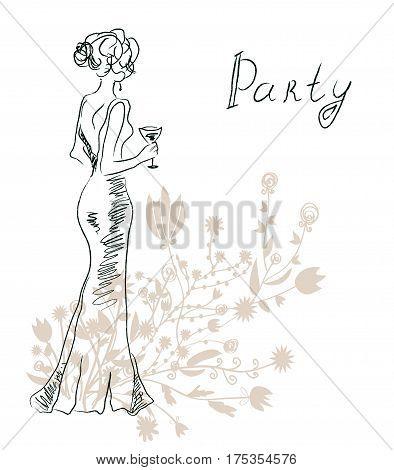 Cocktail party invitation or card with retro woman and flowers - vector graphic illustration