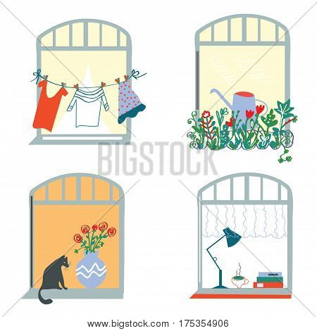 Windows and home funny set in retro style - vector graphic illustration