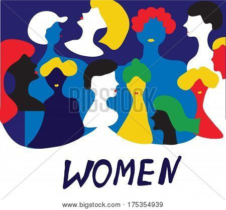 Conceptual illustration with women in group - vector graphic design