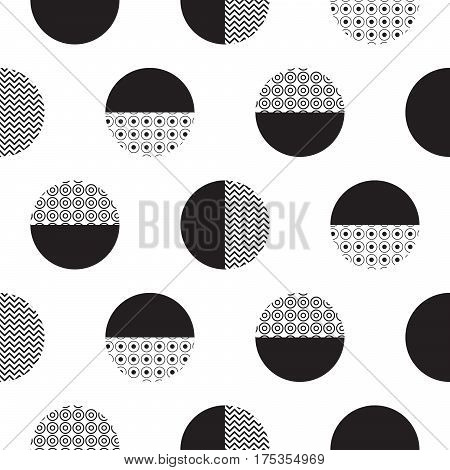 Geometric black and white dotted circles minimalistic pattern. Monochrome semicircles and circles background.