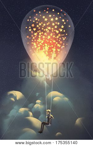 man and big balloon with glowing stars inside floating in the sky at night, illustraion painting