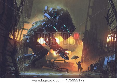 kid giving umbrella to giant robot in the rainy night, illustration painting