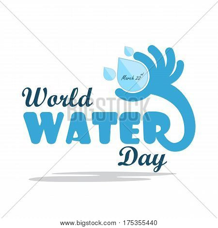 World water day illustration cartoon flat design.Water drop icon vector logo design template.World Water Day idea campaign.Vector illustration