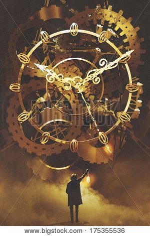 man with a lantern standing in front of the big golden clockwork, illustration painting