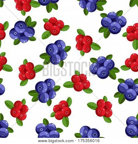 Vector seamless pattern with cartoon bilberries with green leaves isolated on a white. Cute illustration used for magazine book poster card menu cover tag textile badge web pages.