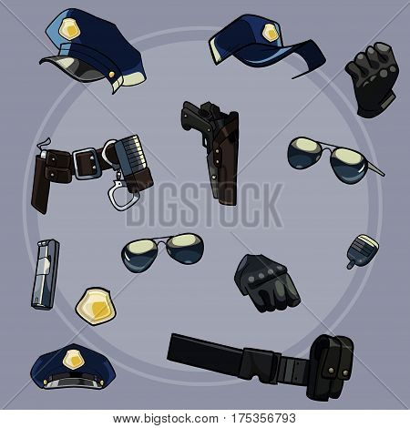 cartoon set items of uniforms and weaponry of the police