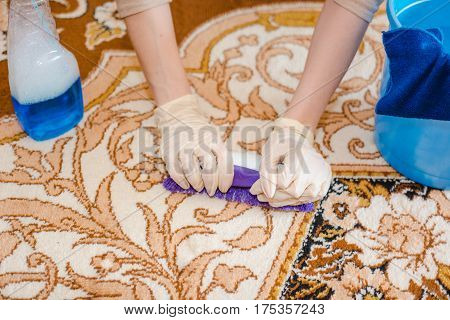 The Woman Cleans A Carpet. The Young Woman Cleans A House Carpet From Dust And Dirt. Purity In The H