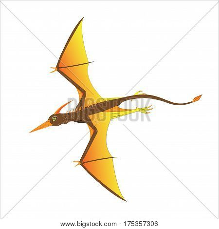 The pterodactyl flies having spread the big wings
