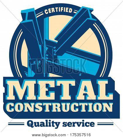 Building framework service emblem. construction metal frame logo. Architectural.