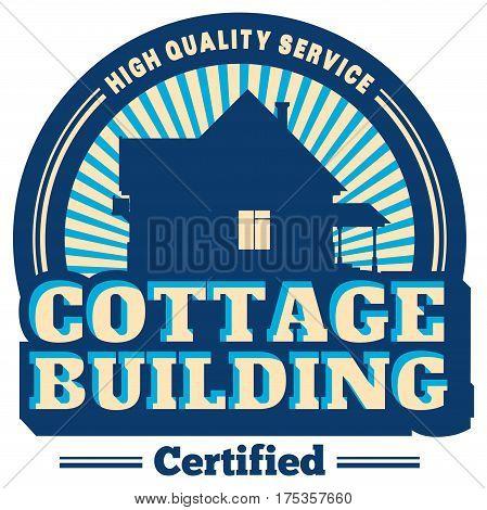 Vector cottage buliding servise emblem. Real Estate Logo Design.