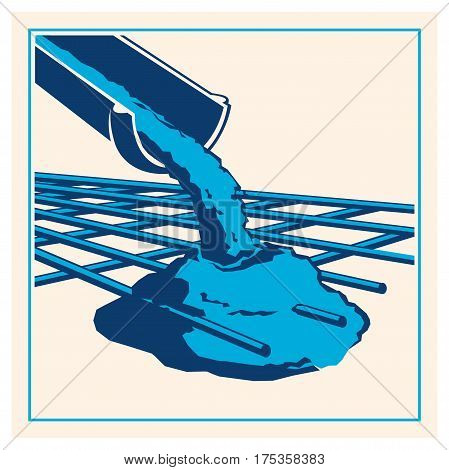Vector icon of a pouring cement concrete