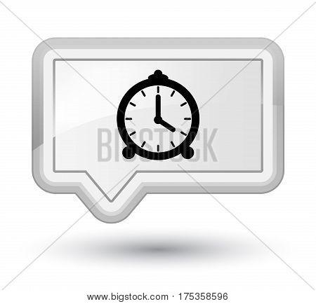 Alarm Clock Icon Prime White Banner Button