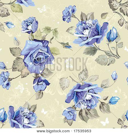 Seamless wallpaper pattern con Rose blu e farfalla, illustrazione vettoriale