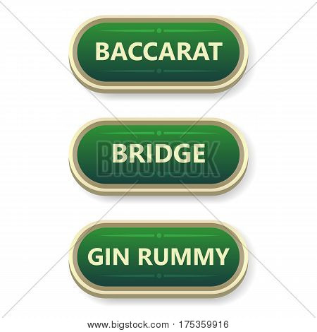 Colorful vector gambling and poker buttons with text
