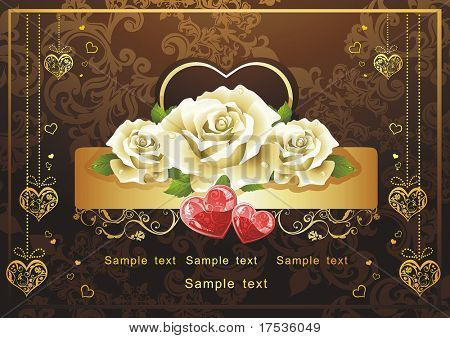 Abstract Classical congratulation card with glossy red hearts and roses. Vector frame background with Place for your text. Saint Valentine's Day