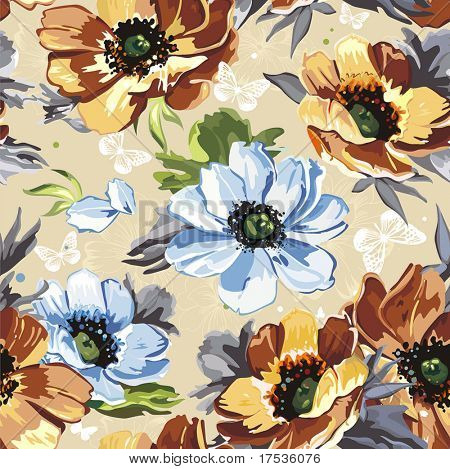 Elegance Seamless color flowers pattern on beige background with butterfly, vector illustration
