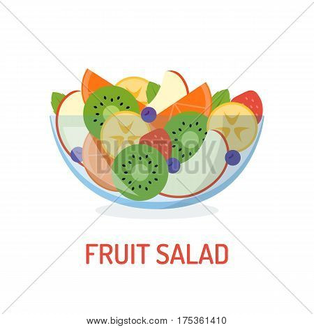 Mixed fruit salad in a glass bowl isolated on white background. Healthy eating concept. Vector illustration in flat design.